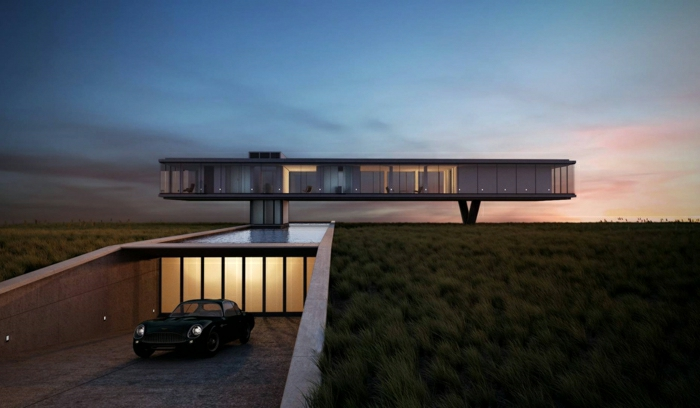 casas modernas, villa futurista elevada con garaje, paredes de vidrio