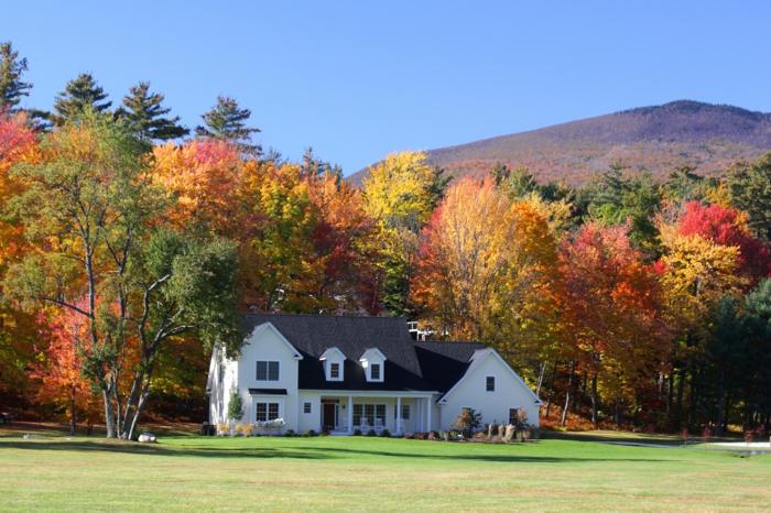 casas rurales barats, casa en blanco y marrón, bosque en colores de otoño