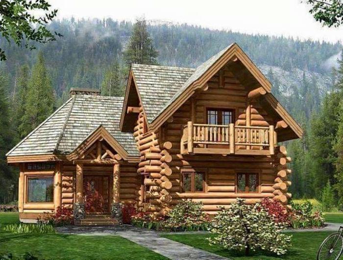 casas rurales baratas, casa de madera clara con techo irregular y jardín, paisaje montañoso