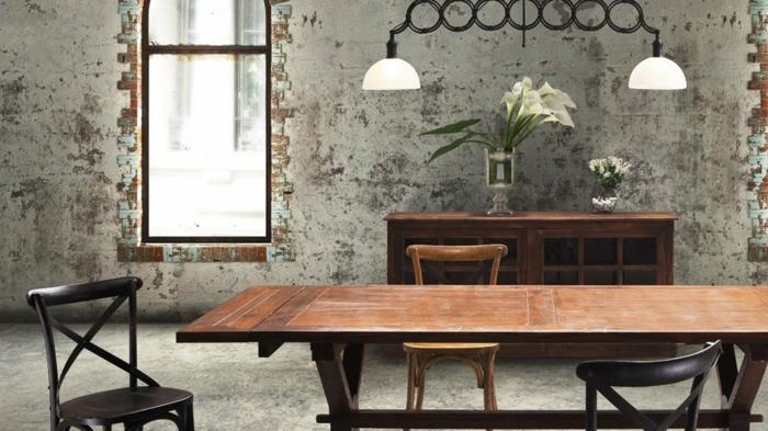 comedores modernos, comedor estilo industrial, mesa y sillas de madera, pared de ladrillo, alcatraces