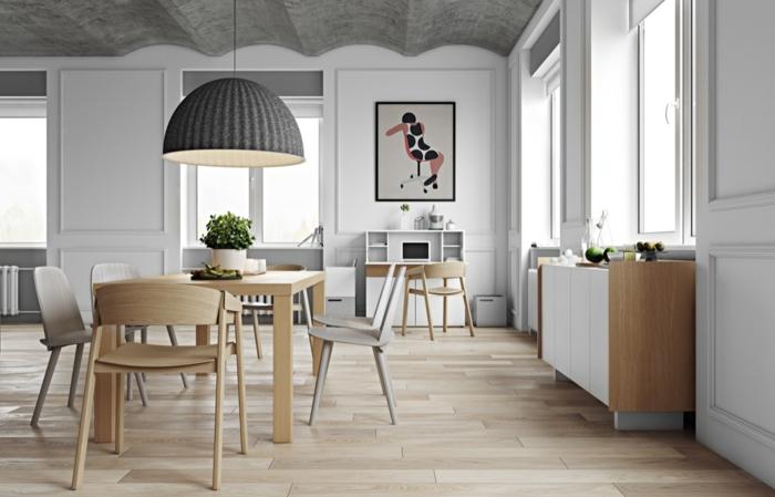 comedores modernos, comedor de madera clara, paredes blancas, parqué, cuadro, alacena, lámpara colgante