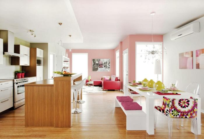 decoracion de interiores, salon con cocina, comedor y sala de estar, mesa blanca, paredes en rosa pastel