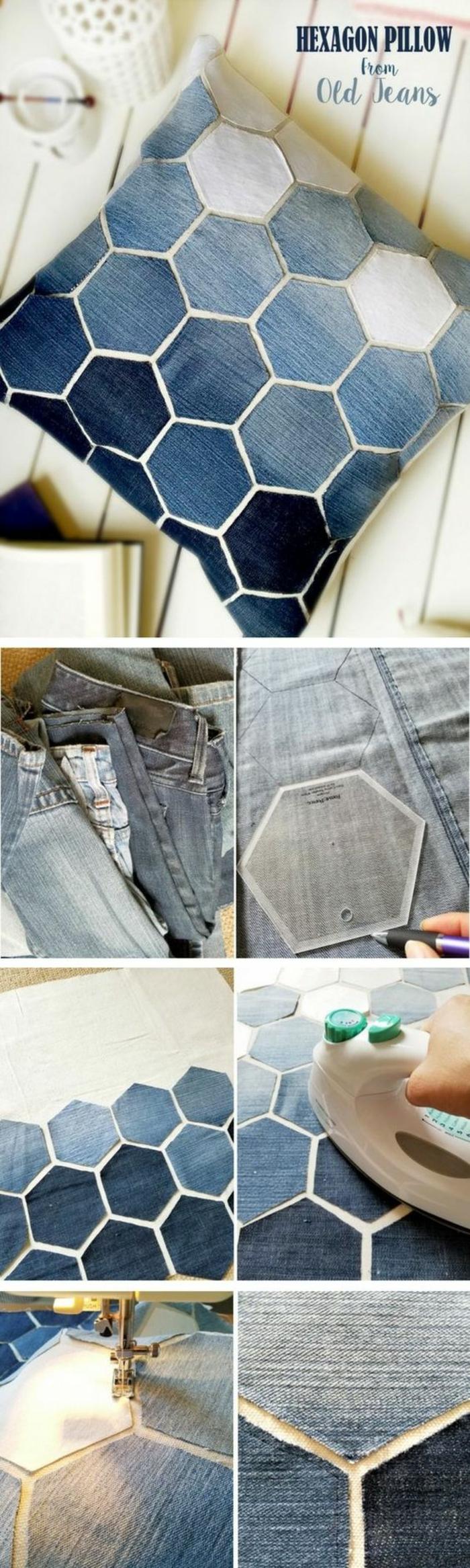 como hacer almohada de jeans viajos, paso a paso, diy decoracion