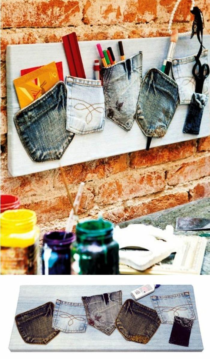 organizador de pared con bolsillos de jeans