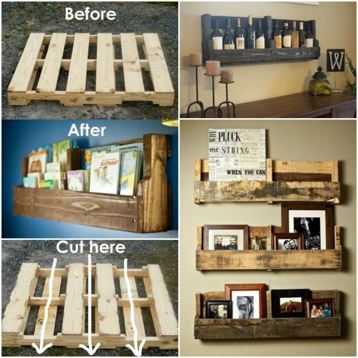 como hacer muebles con palets, guía para hacer estantes portabotellas y portaforos de palets