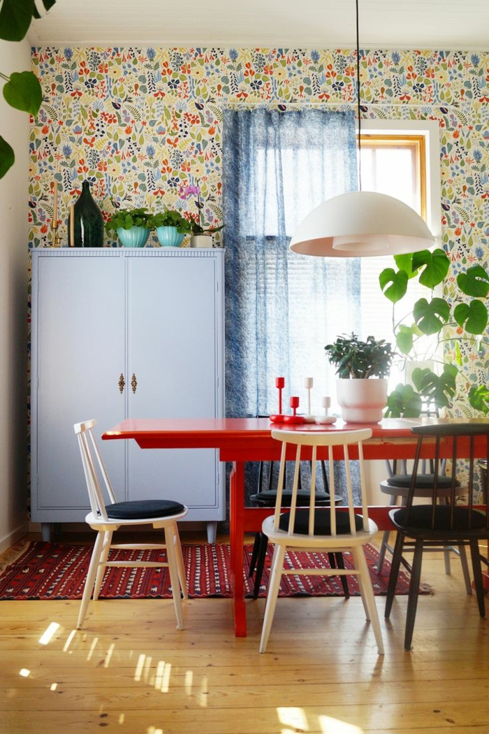 1001 ideas para decoracion de comedores en diferentes estilos for Comedor papel pintado