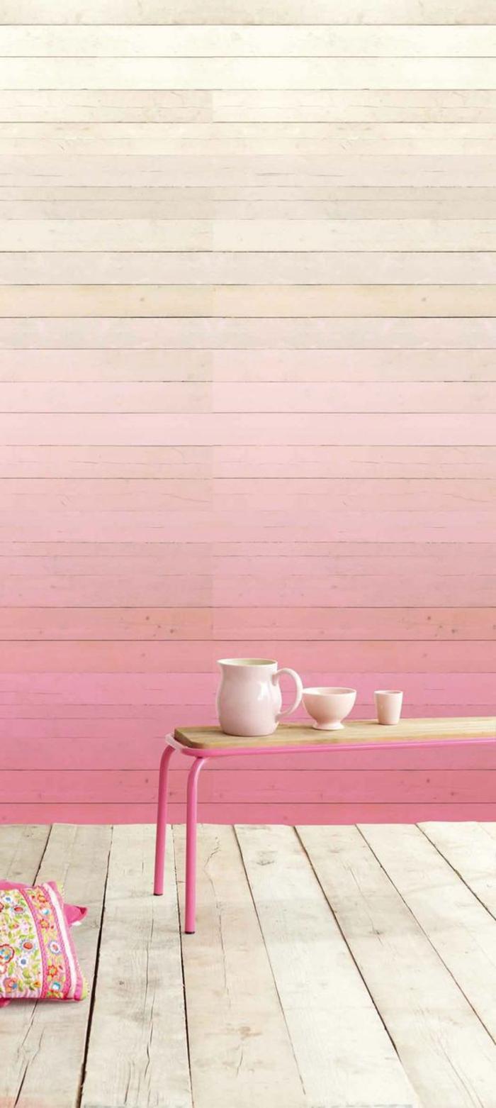 pintar paredes, pared de madera en colores rosa pastel estilo ombré, mesa con tazas, tarima