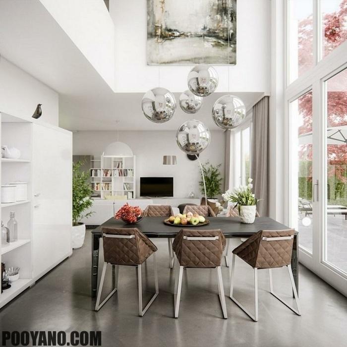 decoracion salon comedor, mesa de madera negra, sillas tapizadas marrón, pared de vidrio, suelo laminado