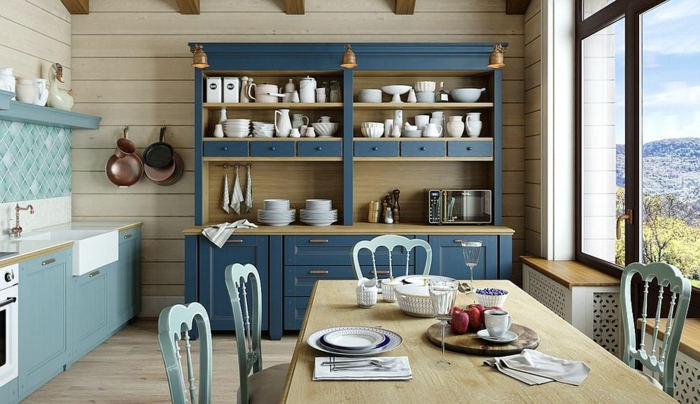 decoracion salon, comedor de madera, azul claro y oscuro, alasena, cocina, vasos, tazas, ventanales