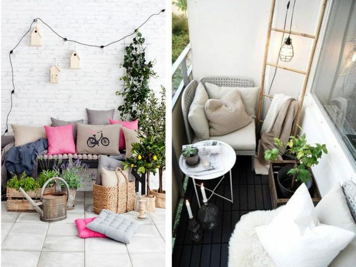 decoracion terrazas, dos balcones con sillones y cojines, decoracion colgante y plantas verdes