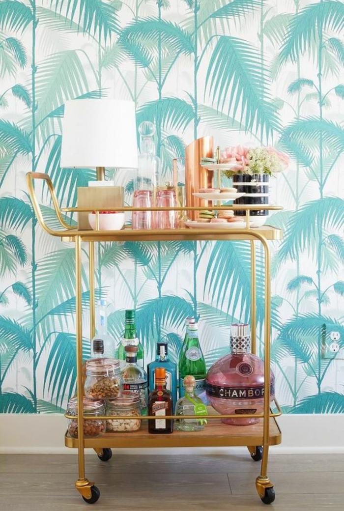 decorar paredes, decoración con papel pintado con palmeras azules