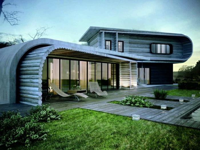 diseñar casas, villa rústica de dos construcciones cubiertas de madera, jardín
