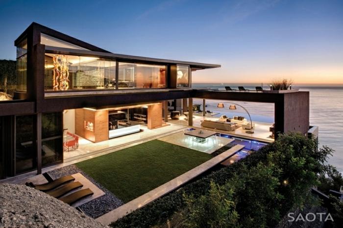 diseñar casas, villa en la costa, dos pisos, piscina, paredes de vidrio