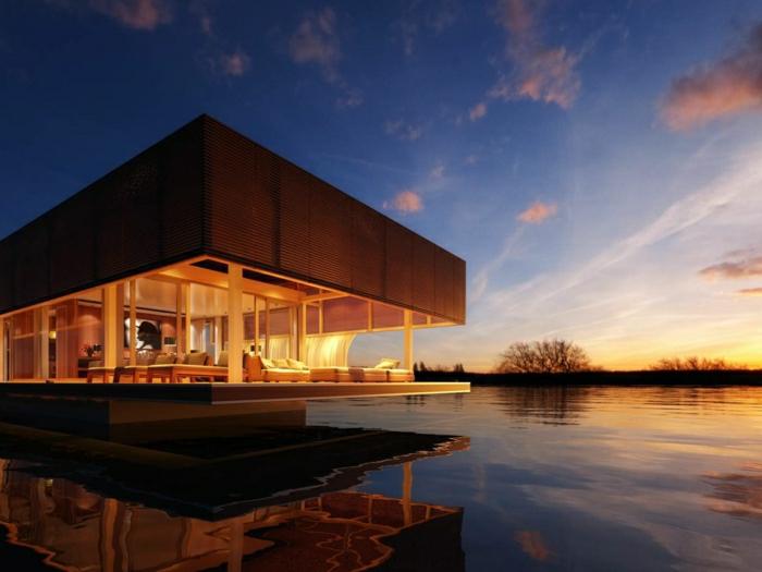 casas modernas, villa de madera con patio abierto, casa sobre lago, crepusculo