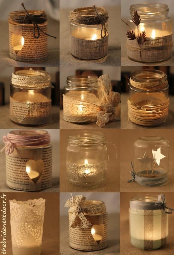 candelas en frascos de cristal, decoracion rustica