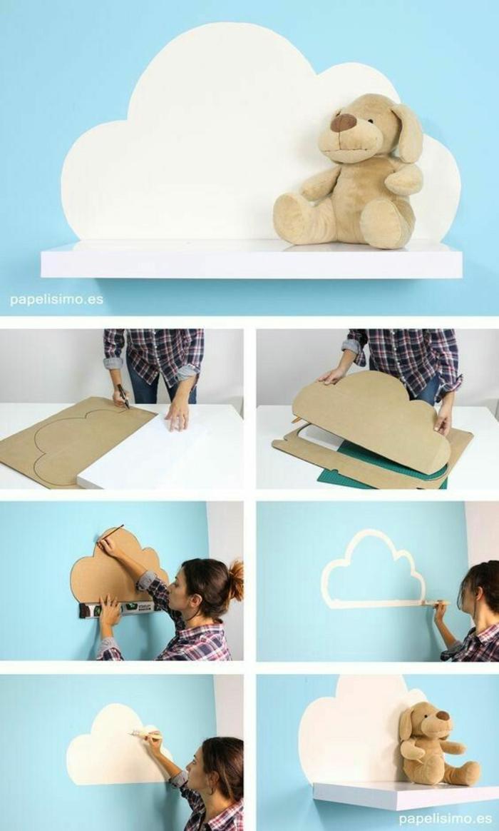 cómo hacer manualidades para decorar pared de habitacion infantilil con nube y peluche