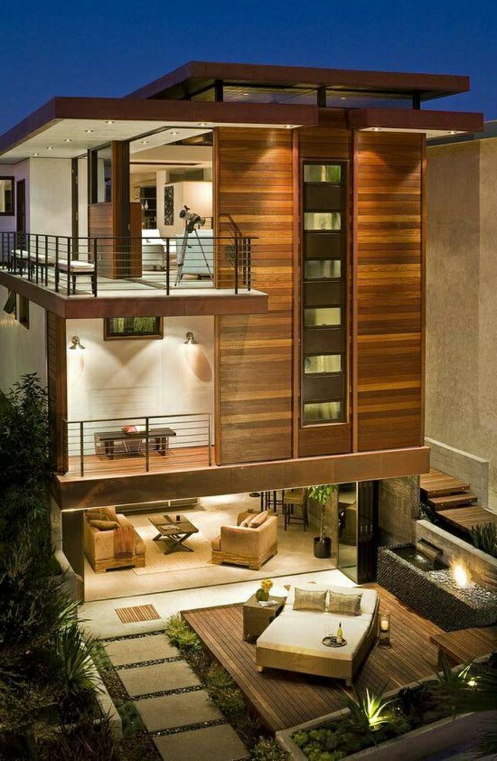1001 ideas sobre fachadas de casas modernas for Fachadas modernas para casas de tres pisos