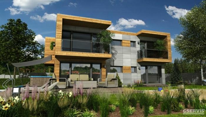 fachadas de casas, villa de dos pisos con ventanales, cubierta de madera clara y baldosas