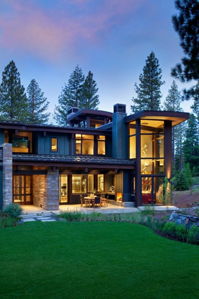 1001 ideas sobre fachadas de casas modernas - Casas piedra y madera ...