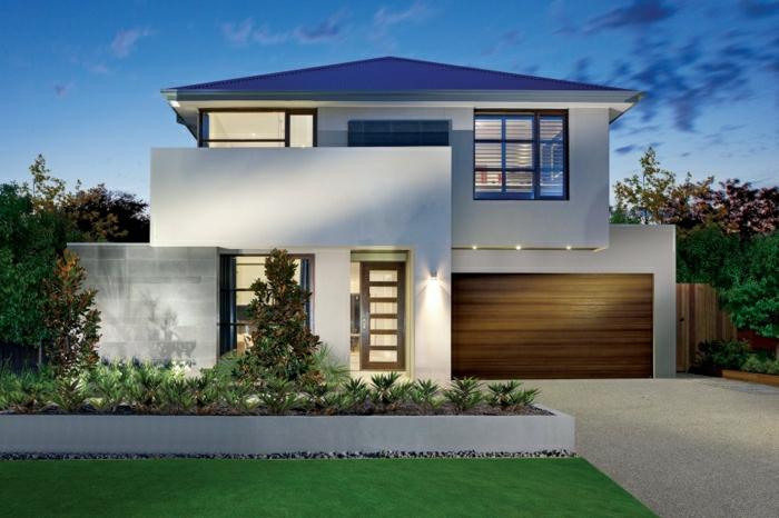 fachada de casas, villa blanca familiar con garaje y dos pisos