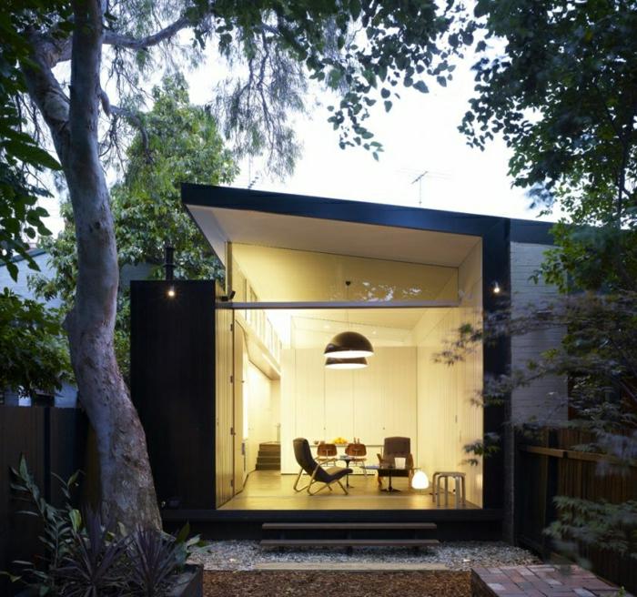 fachadas de casas, villa minimalista entre árboles, sala de estar