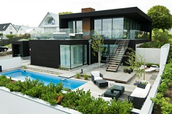 fachadas modernas, casa moderna en zona suburbana, dos pisos, escalera, piscina