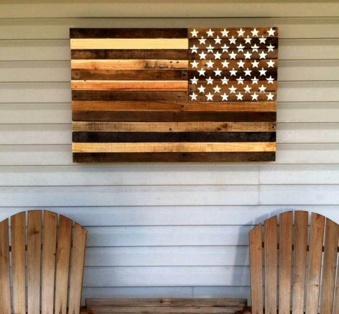 muebles de palets, decoración de pared con palets, la bandera de Estados Unidos