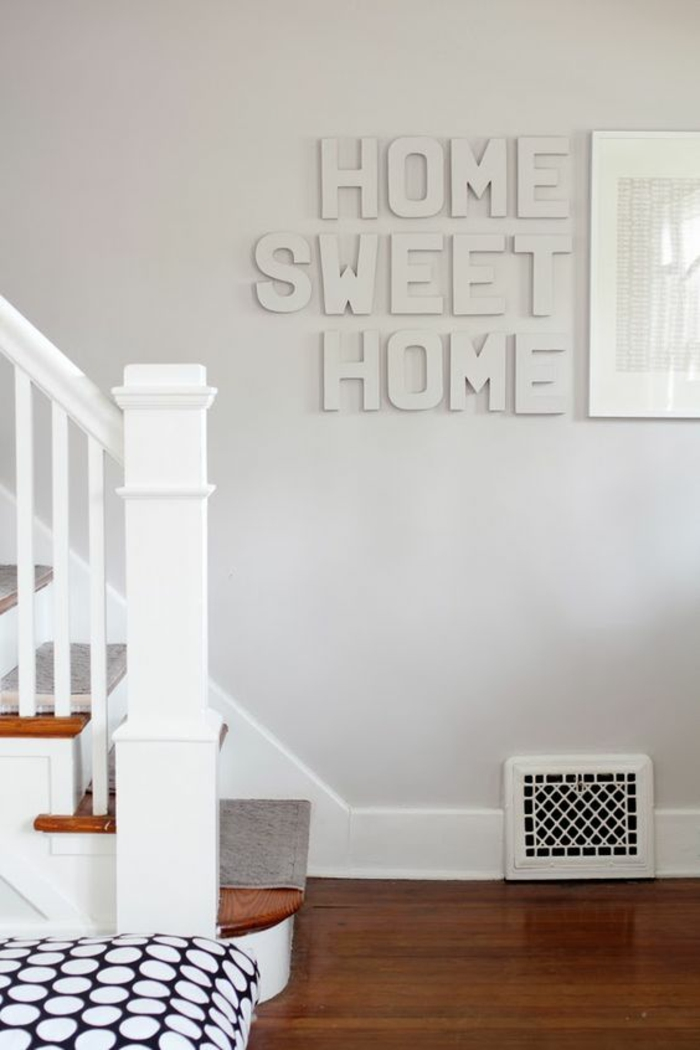 ideas de decoracion, decoracion de pared con palabras repujadas, home sweet home