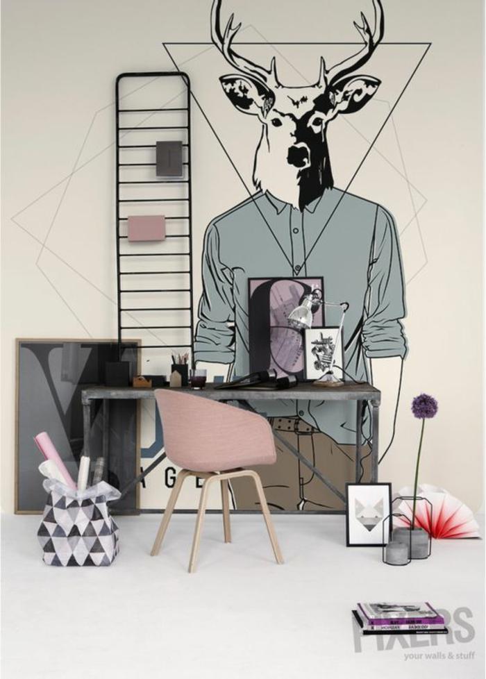 ideas de decoracion, dibujo de un ser con cuerpo humano y cabeza de ciervo