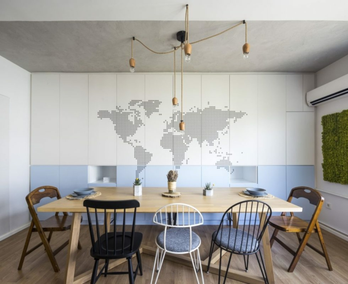 ideas de decoracion, decoracion de pared en comedor, mapa mundo