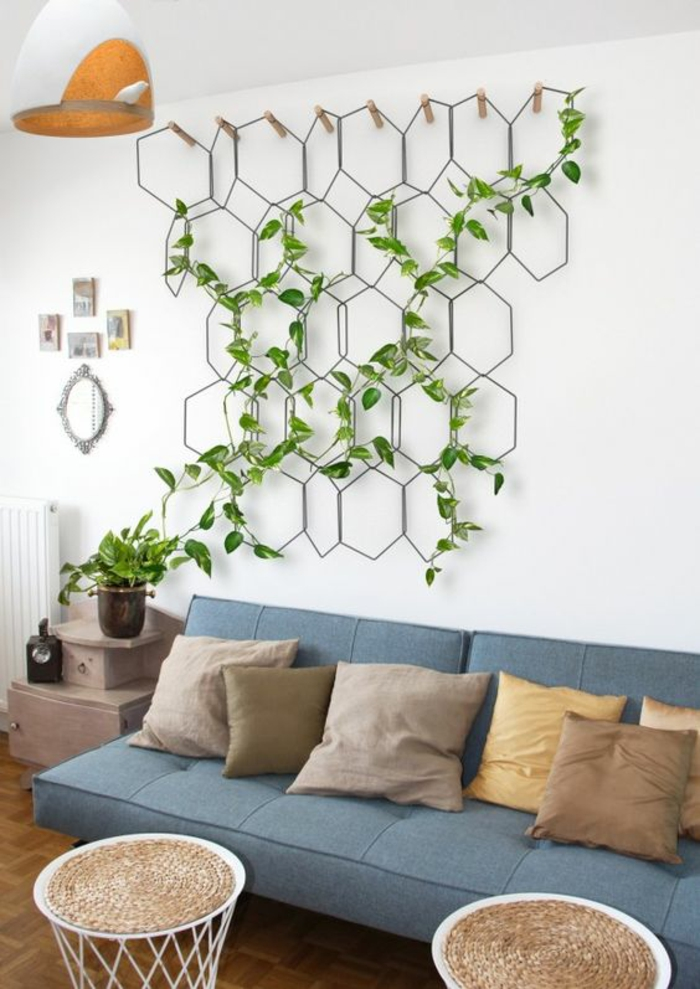ideas decoracion, decoración de pared con planta trepadora