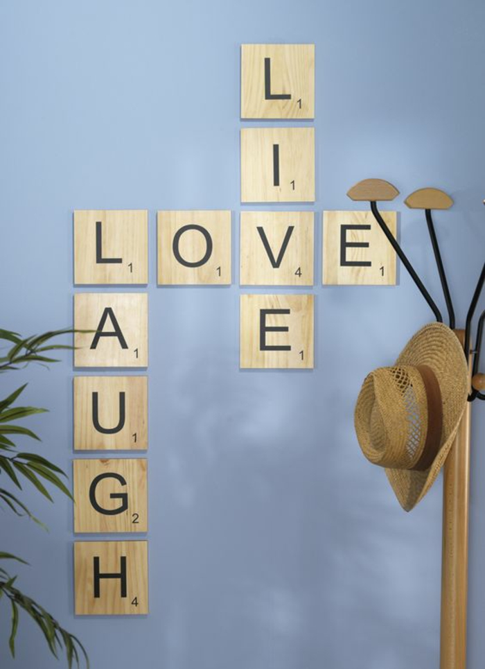 ideas para decorar, decoracion de pared con letras de Scrabble