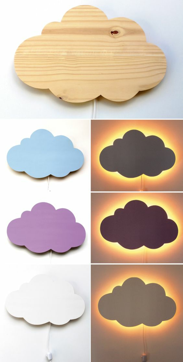 decoracion de habitacion infantil, lamparas en forma de nube