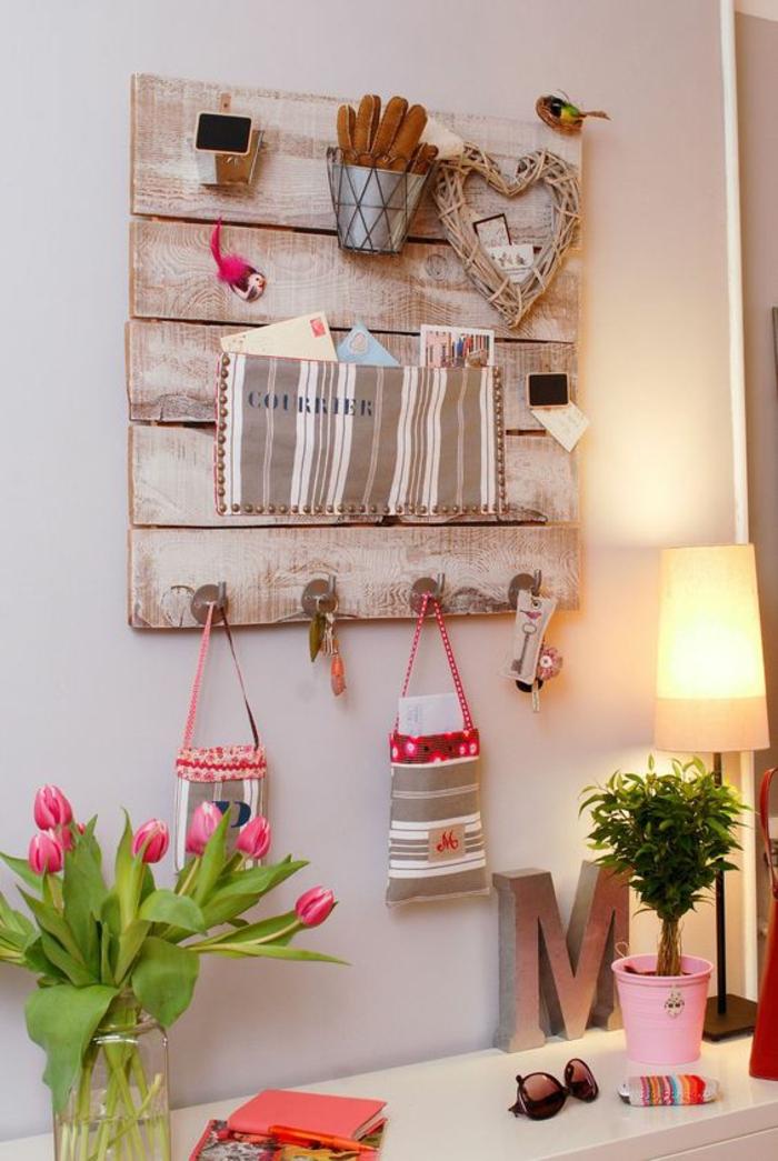 organizador de pared de madera, bolsas, porta llaves, porta cartas