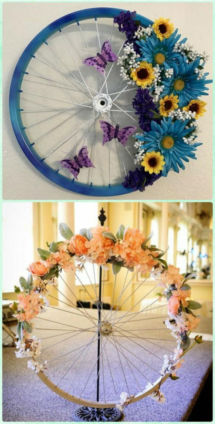 decoracion con llantas de bicicleda pintadas, flores