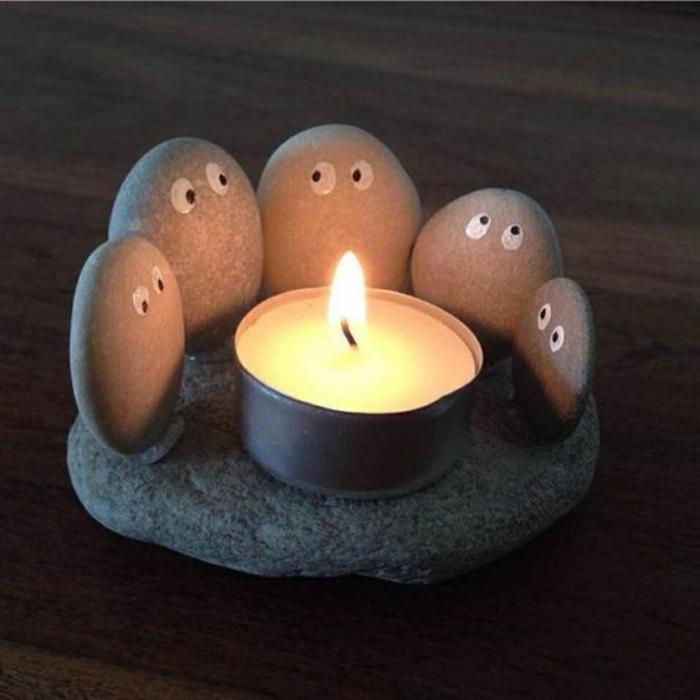 decoracion de mesa, portavelas con piedras, candela