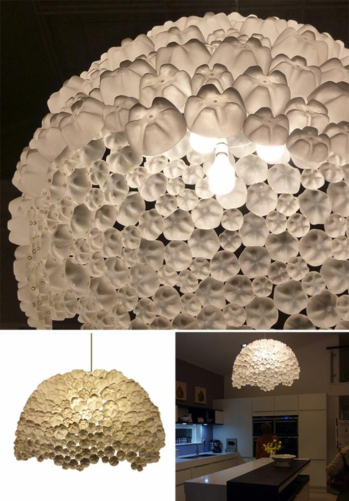 decoracion de habitacion, lampara de botellas de plastico recicladas
