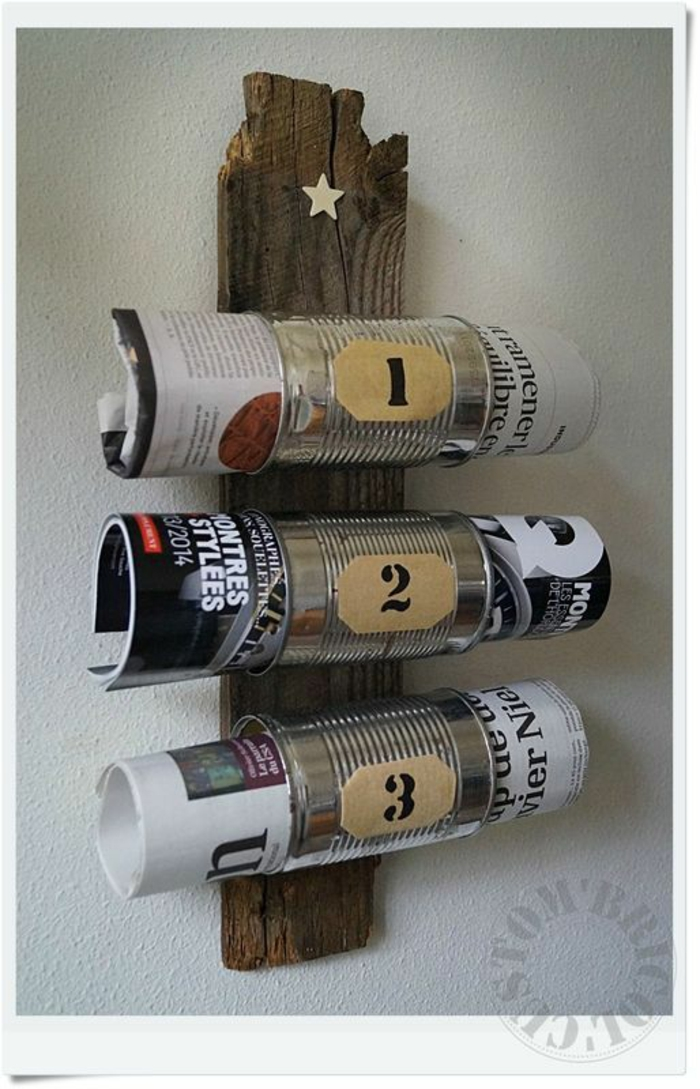 decoracion de pared, latas recicladas, revistas