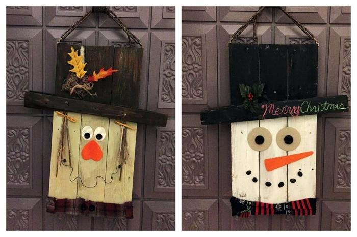 ideas con palets, decoracion de puerta con caritas según temportada