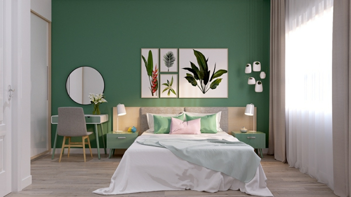 Pintura pared verde affordable imagen with pintura pared verde affordable colores fros - Decoracion nordica dormitorios ...