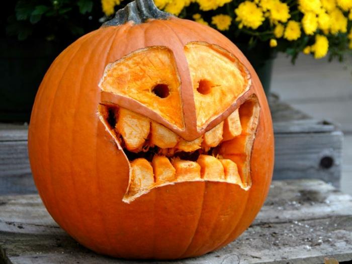 calabazas Halloween, calabaza tallada con cara terrorifica y dientes