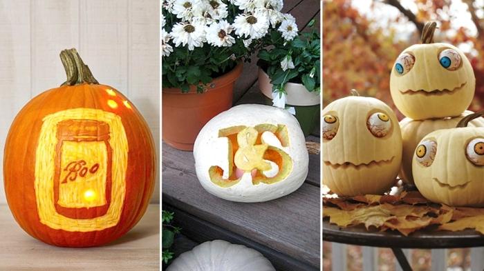 calabazas decoradas, tres variantes de decoración con calabazas de Halloween