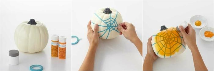 fotos de calabazas de Halloween, pasos para pintar calabaza blanca con telaraña