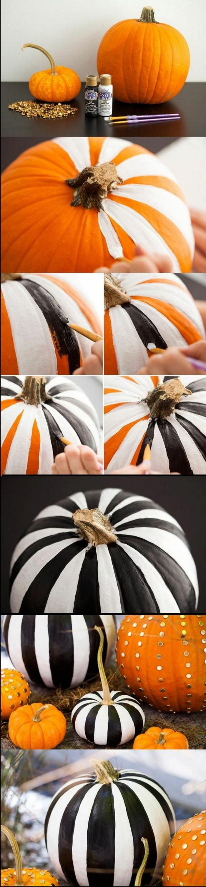 fotos de calabazas de Halloween, tutorial para decorar calabazas en blanco y negro