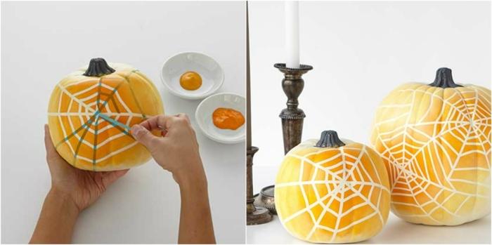 fotos de calabazas de Halloween, como decorar calabazas con pintura paso a paso