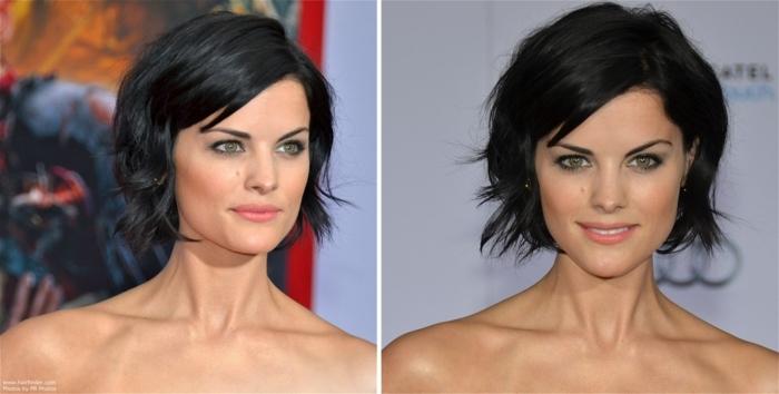 cortes de pelo corto mujer, mujer con pelo negro corto, corte bob despuntado con flequillo corto ladeado