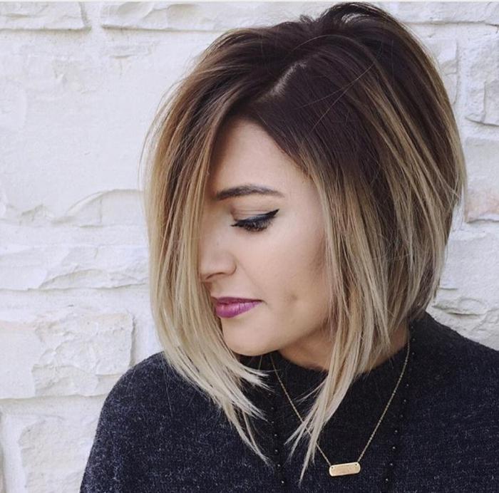 corte de pelo a capas, mujer de perfil con pelo corto estilo ombré, corte bob asimetrico