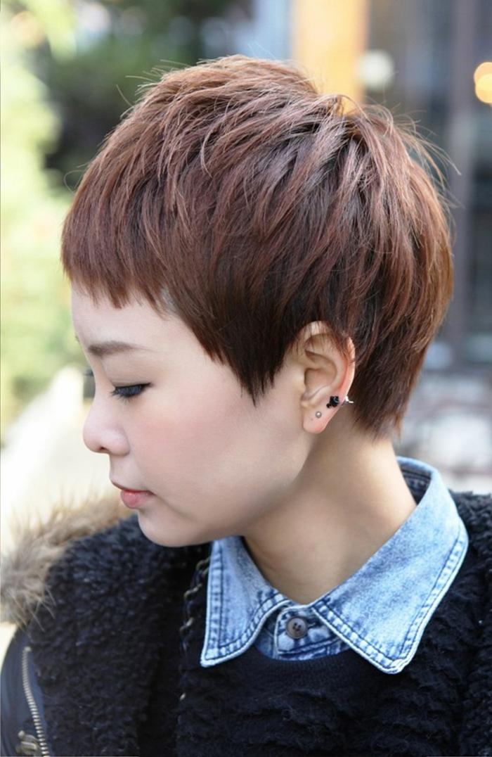 cortes de pelo corte mujer, mujer asiatica de perfil, corte pixie con flequillo corto recto