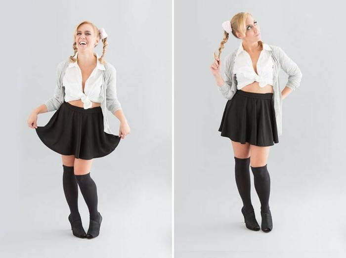 disfraces fáciles, mujer vestida como Britney Spears con falda negra y pelo rubio