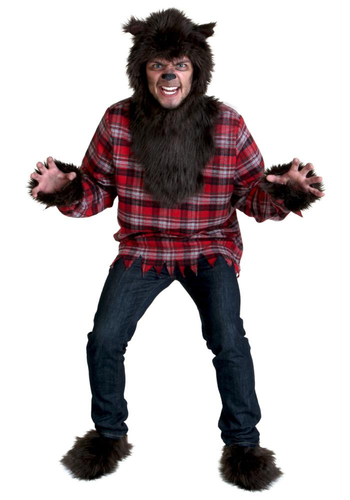 disfraces halloween caseros, disfraz de hombre oso con pelaje y camisa